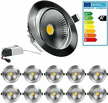 ECD Germany 10-er Pack LED Einbaustrahler COB 9W