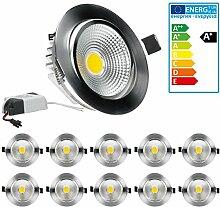 ECD Germany 10 x LED-Einbaustrahler COB Spot 7W