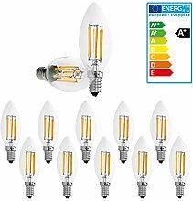 ECD Germany 10 x LED Kerze Filament E14 6W 606