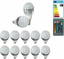 ECD Germany 10er Pack E14 3W LED RGB Birne AC