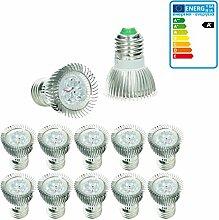 ECD Germany 10er Pack LED Spot E27 3W - ersetzt