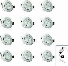 ECD Germany 12-er Pack LED Einbaustrahler 9W 230V