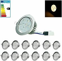 ECD Germany 12-er Pack LED Einbaustrahler 9W 230V