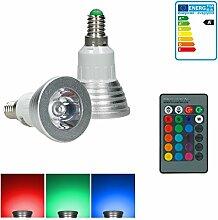 ECD Germany 1er Pack E14 3W LED RGB Lampe AC