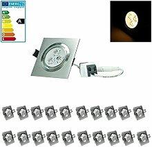 ECD Germany 20-er Pack 3W 220V 9,2x9,2cm LED