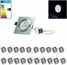 ECD Germany 20-er Pack LED Einbaustrahler 3W 230V