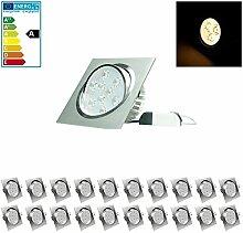 ECD Germany 20-er Pack LED Einbaustrahler 9W 230V