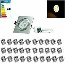 ECD Germany 30-er Pack LED Einbaustrahler 3W 230V