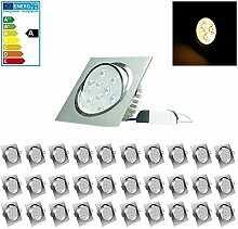 ECD Germany 30-er Pack LED Einbaustrahler 9W 230V