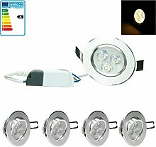 ECD Germany 4-er Pack LED Einbaustrahler 3W 230V -
