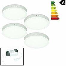 ECD Germany 4 x LED Deckenlampe 18W | AC 220-240V