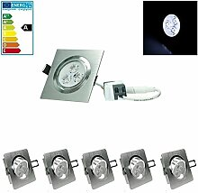 ECD Germany 5-er Pack LED Einbaustrahler 3W 230V -