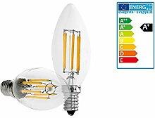 ECD Germany 5er Pack LED Kerze Filament E14 6W -