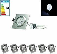 ECD Germany 6-er Pack LED Einbaustrahler 3W 230V -