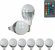 ECD Germany 6er Pack E14 3W LED RGB Birne mit