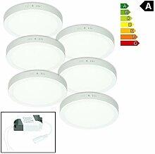 ECD Germany 6er Pack LED Deckenlampe 18W - AC
