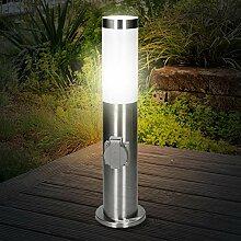 ECD Germany Außenlampe 45 cm mit 1 Steckdose -
