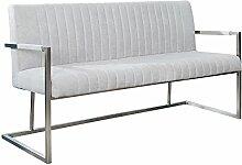 Echt Edelstahl Sitzbank BIG ASTON stone grau 160cm Industrie Design Roaster Design Küchenbank Esszimmer Bank