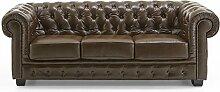 Echt Leder Sofa Chesterfield 3-Sitzer antik braun Couch Exclusive
