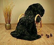 Echte Pelzdecke Felldecke Toscana Lammfell ca. 160x200 schwarz Lammfelldecke