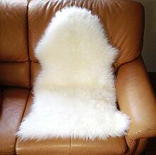 Echtes Lammfell, Absolut geruchsarm, Weiß ca. 80-90 cm. Ganz Zart und Weich. Super-Günstig. Wollhöhe ca. 4-5cm. Schaffell Lammfell Weiß 90-100cm