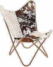 Echtfell Sessel BUTTERFLY Kuhfell braun weiß Kupfergestell Stuhl echtes Fell kupfer Lounge Esszimmer Klappstuhl Loungesessel Liegestuhl