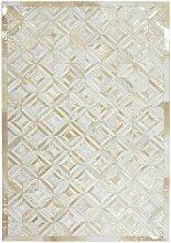 Echtfell Teppich in Creme Weiß und Goldfarben