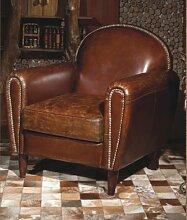 Echtleder Vintage Sessel Ledersessel Braun Antik Design Lounge Clubsessel Sofa Möbel NEU 444
