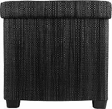 Echtwerk EW-OC-0490 Sitzwürfel Outdoor Cube Rattan, Sitzhocker, 37,5 x 37,5 x 37 cm, schwarz