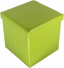 Echtwerk EW-SW-0405 Sitzwürfel, StoreCube, faltbar, circa 38 x 38 x 38 cm Kunstleder, Aufbewahrungsbox, grün
