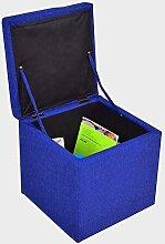 Echtwerk Sitzhocker Stoff Aufbewahrungsbox Sitzbank Blau Stauraum Aufbewahrung Groß Klein Holz Deckel Sitzwürfel Büro Stabil Sitzbox Kinder 40x40 Ottomane Schlafzimmer Leinen Spielzeug &E Book