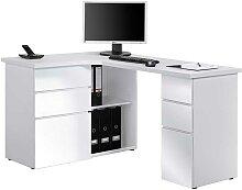 Eck Computertisch in Weiß mit Stauraum