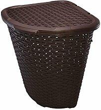 Eck-Wäschekorb, groß, Rattan/Kunststoff, Wäsche/Mülleimer/allgemeiner Aufbewahrungskorb, 52l, plastik, braun, 58 x 40 x 40 cm