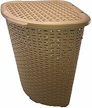 Eck-Wäschekorb, groß, Rattan/Kunststoff, Wäsche/Mülleimer/allgemeiner Aufbewahrungskorb, 52l, plastik, beige, 58 x 40 x 40 cm