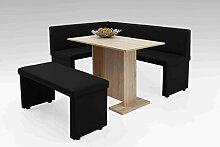 Eckbank, Sitzbank, Küchenbank, schwarz, Kunstleder, Schenkelmaß lange Seite: 168 cm, Schenkelmaß kurze Seite: 128 cm