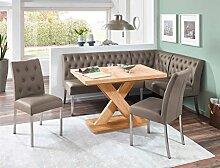 Eckbankgruppe Milan Honigeiche cappuccino Eckbank 2x Stuhl Säulentisch Esstisch Tisch Sitzgruppe Bankgruppe Esszimmer