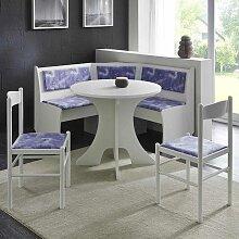Eckbankgruppe mit rundem Tisch Weiß und Lila