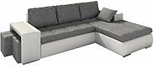 Eckcouch Atlantis Loft mit zwei Hocker, Ecksofa mit Schlaffunktion und Bettkasten, Modern Couch für Wohnzimmer, L-Form Wohnlandschaft! (Ecksofa Rechts, Soft 017 + Forever 65)