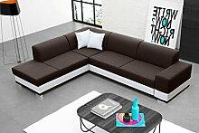 Eckcouch mit Schlaffunktion und Bettkasten Darco Farbe: Braun/Weiss, Seitenauswahl: Links