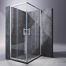 Eckeinstieg Duschkabine 100x80cm Sicherheitsglas