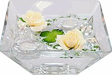 Eckige Glas-Schale Teelicht H.7,5cm Länge x