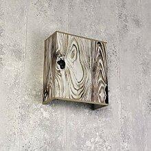 Eckige Wandleuchte Stoff Schirm Loft Design Holz