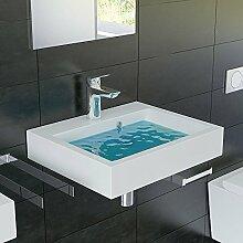 Eckiges Mineralguss-Waschbecken mit Überlauf / 50 cm Breite / Für Wandmontage und als Aufsatzbecken geeigne
