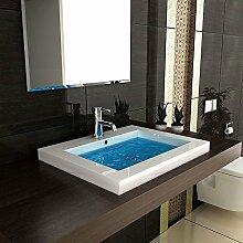 Eckiges Mineralguss-Waschbecken mit Überlauf / 60 cm Breite