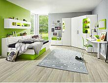 ECKKLEIDERSCHRANK 2-türig Hellgrün, Weiß