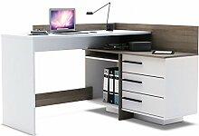Eckschreibtisch Sophie 2 grau weiß Holz Computertisch Kinderschreibtisch Jugendschreibtisch Bürotisch Schreibtisch Kinderzimmer Jugendzimmer