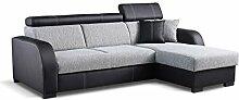 Ecksofa Deco, Eckcouch mit Bettkasten und Schlaffunktion, Design-Schlafsofa mit einstellbaren Kopfstützen, Polsterecke, Elegante L-Form Couch Couchgarnitur (Ecksofa Rechts, Soft 011 + Sumatra 6)
