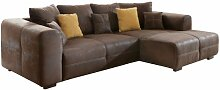 Ecksofa Love Seats / Polster Eck-Couch mit Kissen / In Antik-Leder-Optik mit nussbaumfarbenen Holzfüßen / 285x69x170 (B x H x T) / Braun