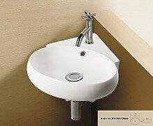 Eckwaschbecken aus Keramik, weiß 37,5 x 35 x 13,5 cm / Waschbecken