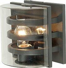 Eco Light Moderne Außenwandleuchte Delta für stimmungsvolles Licht, halbrund, E27 Fassung, IP54, anthrazit 1838 GR